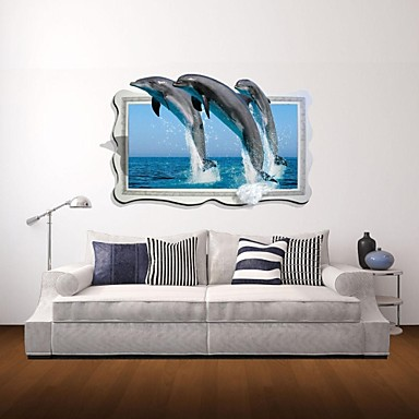 Animali paesaggio 3d adesivi murali adesivi 3d da parete for Adesivi per pareti