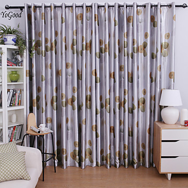 (One Panel) Blackout Country Vivid Grey Dandelion Curtain