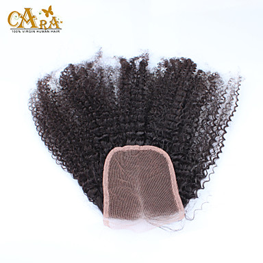"10""-20"" Black Full Lace Kinky Curly Human Hair Closure Medium Brown Chinese Lace 60g/piece gram Cap Size"