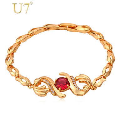Buy U7® Women's Zircon Link Chain 2015 New 18K Real Gold Plated Luxury Red Cubic Zirconia Charm Bracelet