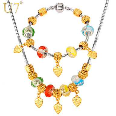 Buy U7® Women's European New Platinum/18K Real Gold Plated DIY Crystal Heart Charms Necklace Beaded Bracelet Jewelry Set