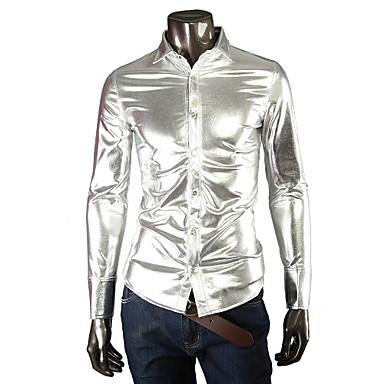 Men's Black/Gold/Silver Shirt,Cotton Blend/Elastic/Satin