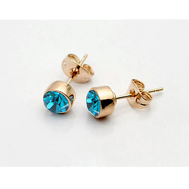 Buy T&C Women's Concise Blue Crystal Stud Earrings 18K Rose Gold Plated Jewelry Austrian