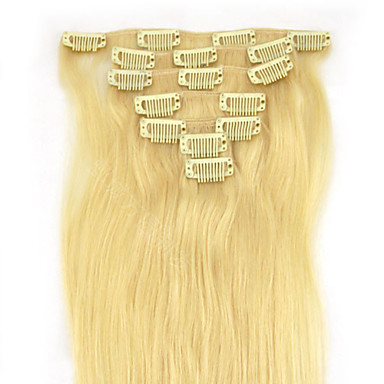 Buy 24 Inch 100g Full Head Clip Human Hair Extension Straight 4 Colours Available