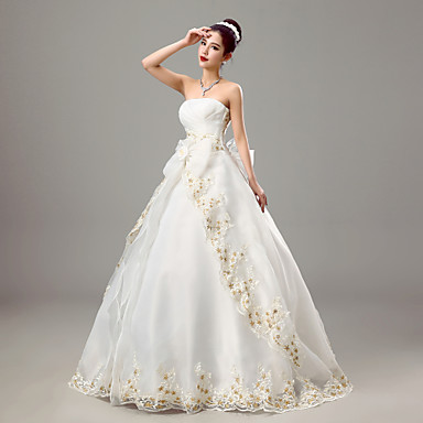 Ball Gown Wedding Dress Wedding Dresses in Color Floor-length Strapless Organza with Bow / Criss-Cross / Embroidered