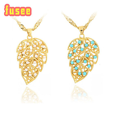 18K Golden Plated Fashion Leaf Shape with Imitation Pearl Pendant Necklace