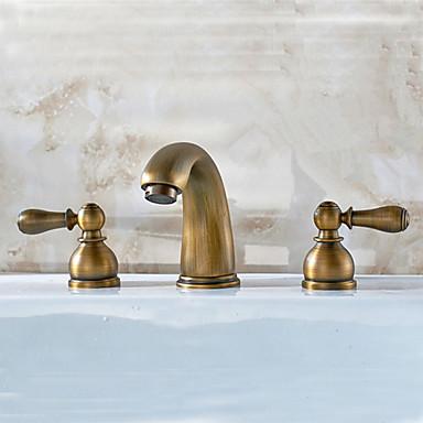 Antique Brass Finish Widespread Bathroom Sink Faucet 2015