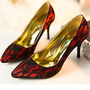 Womens Shoes Lace Tulle Stiletto Heel Heels Pointed Toe Pumps Heels Wedding Dress Black Red