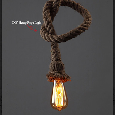 1 Light DIY Art Hemp Rope Light Creative Hemp Rope Droplight Long 150CM Send ...
