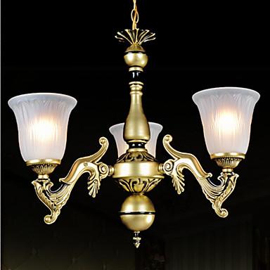 lampadari in bronzo a tre luci pattern-vetro-ombra ...