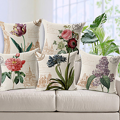 Buy Set 5 Country Style Flowers Patterned Cotton/Linen Decorative Pillow Cover