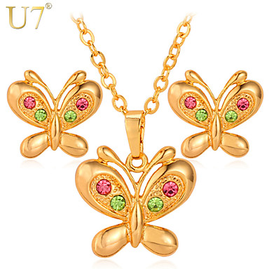 Buy U7® Women's Cute Butterfly Stud Earrings Red Green Rhinestone 18K Gold Plated Pendant Necklace Jewelry Set