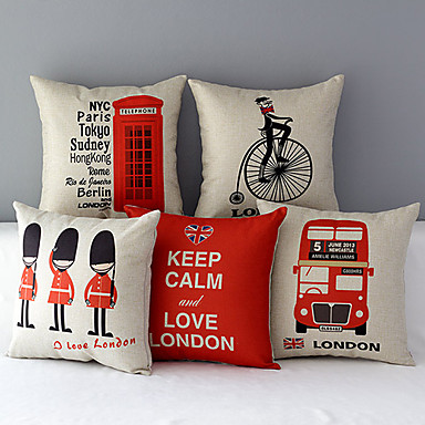 Buy Set 5 Euro Country London Patterned Cotton/Linen Decorative Pillow Covers