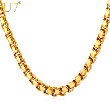 Buy U7® Men's Classical Box Chain Necklace Stainless Steel Jewelry 18K Real Gold Plated Choker