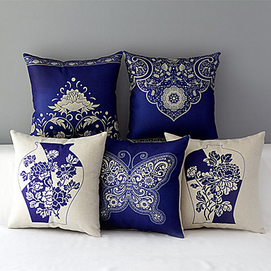 Buy Set 5 Country Style Porcelain Patterned Cotton/Linen Decorative Pillow Covers