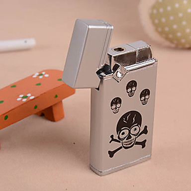 Classic Black Skull Metal Windproof Lighter with LED Light and Buzzer (Random...