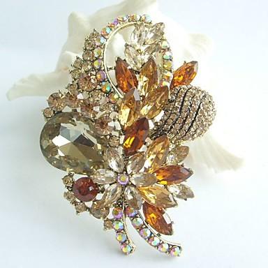 3.35 Inch Gold-tone Topaz Rhinestone Crystal Flower Brooch Art Deco