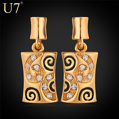 Buy U7® Women's New Earrings 18K Gold Plated Jewelry Clear Rhinestone Platinum Dangle