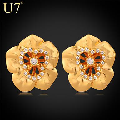 Buy U7® Women's Austrian Rhinestones Earrings 18K Real Gold Plated/Platinum Plated Flower Jewelry Hollow Stud