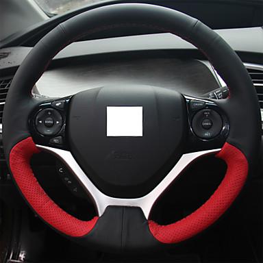Xuji Red Black Genuine Leather Steering Wheel Cover For Honda Civic Civic 9 2012 2013 2014