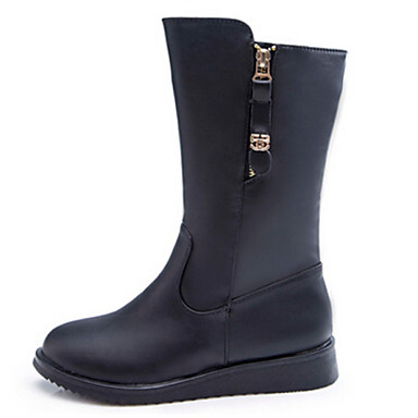 Creative Womens Knee Boots Slouchy Low Heel Biker Boots Fur Lined Winter Shoes