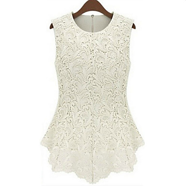 Women's Lace Casual/Daily Simple Summer Tanks,Solid Round Neck Sleeveless White/Black Polyester/Nylon Medium