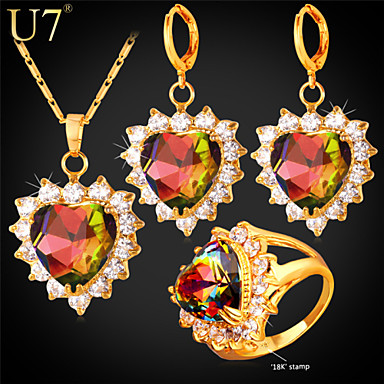 Buy U7® Women's Prong Setting Multicolor Austrian Stone Clear Zircon Gold Plated Romantic Love Heart Three-Piece Jewelry Set