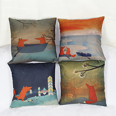 Buy Set 4 Little Fox Pillowcase Sofa Home Decor Cushion Cover(17*17inch)