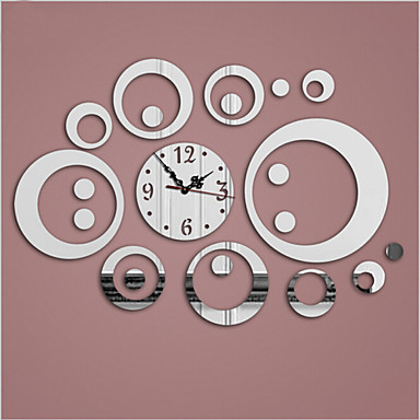 3D Acrylic Mirror Wall Clock Surface Three Colors
