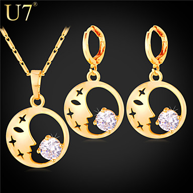 Buy U7® Women's Beauty Face Drop Earrings Platinum/18K Gold Plated Pendant Necklace Cubic Zirconia Jewelry Set