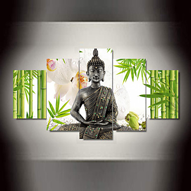 Buddha Wall Decor 5 panel wall art buddha bamboo flowers print on canvas for wall