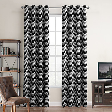 Modern One Panel Stripe Black Bedroom Polyester Blackout Curtains Drapes 4482146 2016