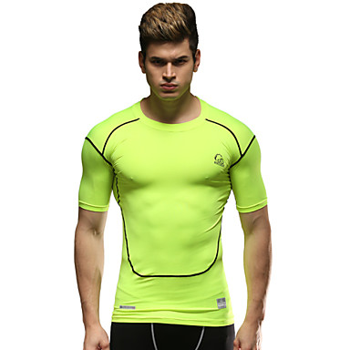 Buy Running Compression Clothing / Tops Men's Short Sleeve Breathable Sports Wear Tight Green M L XL