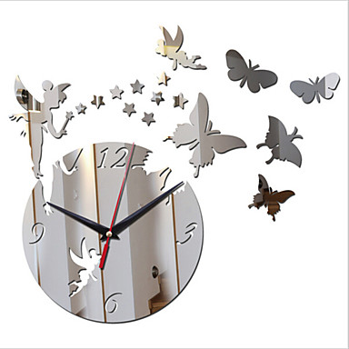 Buy Acrylic DIY 3D Mirror Home Decor Stars Angel Wall Clock Surface StickerS
