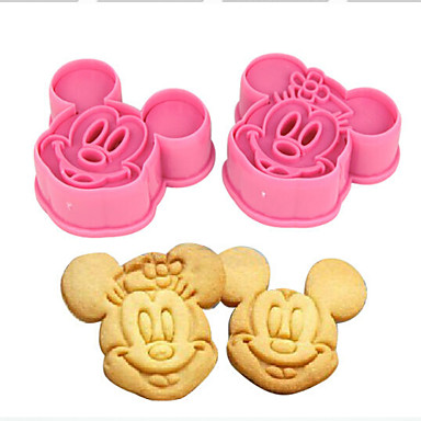 Buy Kitchen Bakeware Baking Tools 3D Biscuit Minnie Mickey Mouse Cookie Cutter Stamps