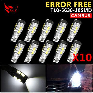 Buy 10x Canbus Wedge T10 White 192 168 194 W5W 10 5630 SMD LED Light Lamp Bulb Error Free 12V