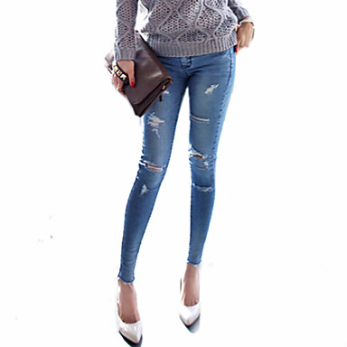 Women's Skinny Jeans Pants Sexy Split Low Rise Inelastic All Seasons