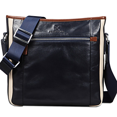 Buy X.BNJ 1267 Men Shouder Bags Top Grade Genuine Leather Business Bag Vintage First Layer Cowhide Messenger Blue