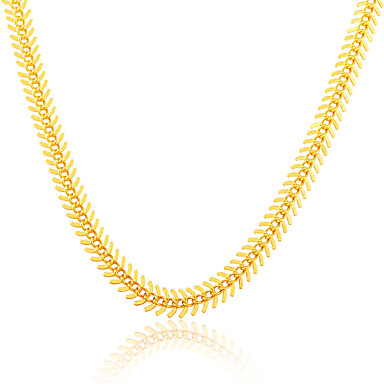 Buy Gold Chain Stamp 18K Plated Jewelry New Fish Bone Foxtail Link Necklace Unisex N50124