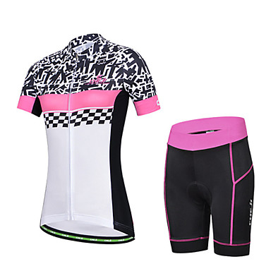 Buy CHEJI Women's Breathable Short Sleeve Cycling Jersey 3D Pad Shorts
