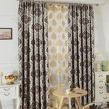 two panels modern toile living room polyester blackout. Black Bedroom Furniture Sets. Home Design Ideas