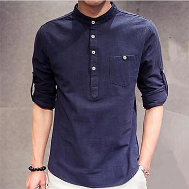 herren t shirt einfarbig freizeit leinen lang blau braun. Black Bedroom Furniture Sets. Home Design Ideas