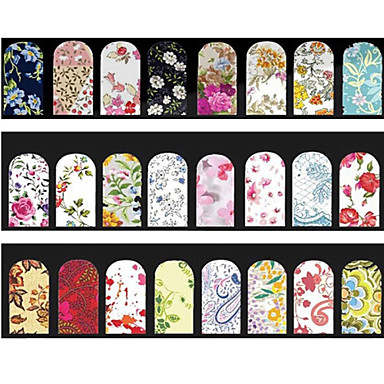 Buy Random Mix Desings Flowers Nail Art Water Stickers Full Cover Transfer Decals Decoration Tools