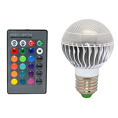 Buy E27 10W 72LM 2800-3500/6000-6500K Color-Changing Remote-Controlled Globe Bulbs AC 220V