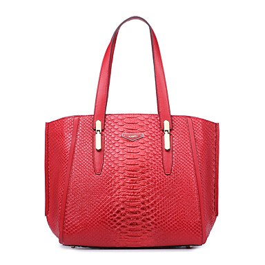 Buy NAWO Women Cowhide Tote Red - N258