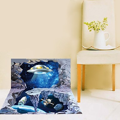 The New Planet Spaceship 3d Wall Sticker Affixed To Study
