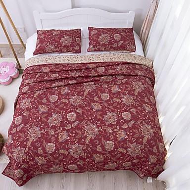 Mode 100 coton 3 pi ces matelass ensemble couvre lit for Lit queen size taille