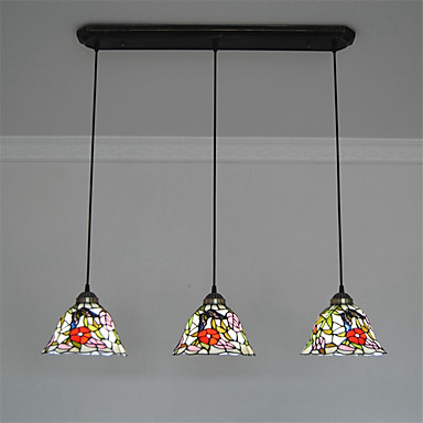 8inch 3 lights retro tiffany pendant lights glass shade for 3 light dining room light