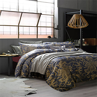 fleur ensembles housse de couette 4 pi ces coton luxe imprim coton lit 2 places 39 queen 39 lit 2. Black Bedroom Furniture Sets. Home Design Ideas