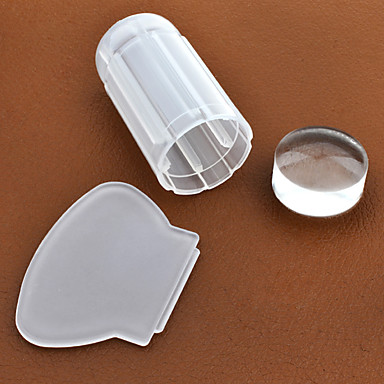 Buy Milky White Transparent Nail Art Stamping Stamper Scraper Set 2.8cm Clear Jelly Stamp Manicure Tools